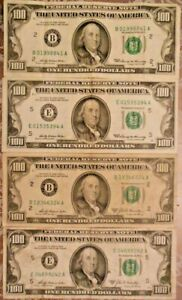 1969 and 1969-A $100 United States Federal Reserve Notes: Lot of Four