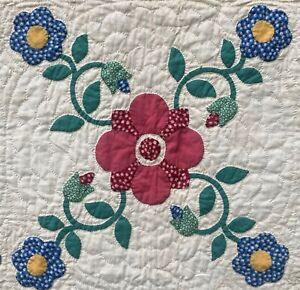 c.1930 Applique Quilt-Carefully Chosen Fabrics-Good Quilting-NR