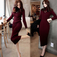 Women Tunic Party Long Dress Winter Warm Knit Stretch Turtleneck Bodycon Sweate