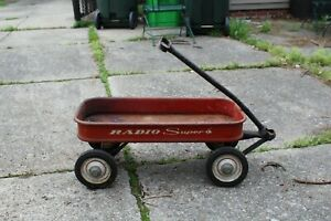 Circa 1963 Vintage RADIO SUPER WAGON Classic Pull Cart red wagon toy