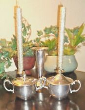 Silverplated Vase, Candle Holders & Sugar Containers