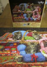 RARE SunsOut - KITTENS IN THE BASKET - Sewing - 500pc Puzzle COMPLETE EUC