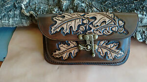 UK made, hand carved oak leaves leather belt pouch, bum bag, fanny bag,pagan bag