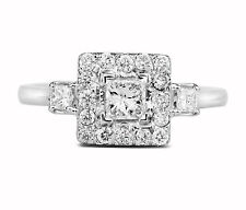 0.68 Carat Natural Princess Cut Diamond Halo Engagement Ring In 14K White Gold