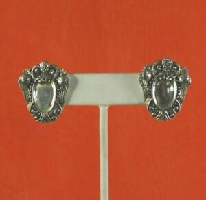 Vintage Ardrea Barnett Earrings Victorian Style Clip Solid 925 Sterling Silver