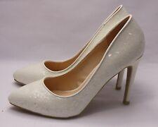 Zapatos de Novia Noche con Brillo Crema Blanca Tacones Altos XF70-1