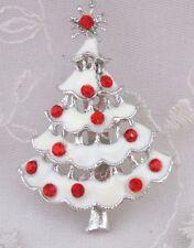 Christmas Tree Brooch Pin Silver White Red Rhinestones Fashion Jewelry NEW