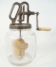 Antique Vintage Glass Butter Churn Square Ribbed Duraglas Jar Cast Iron Churn