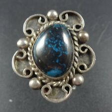 GORGEOUS Vintage NAVAJO Sterling Silver and Deep Blue TURQUOISE RING, size 6.5