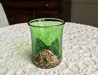 Colorado LACY MEDALLION Emerald Green Glass Whiskey Water Tumbler Gold EAPG