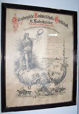 Urkunde Pferd 1900 Lithographie Lambrecht Oldenburg Pferdezucht H. Adels Wappen