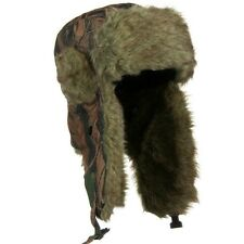 Faux Fur Aviator Bomber Trooper Trapper Hat With Ear Flaps WOODLAND CAMO