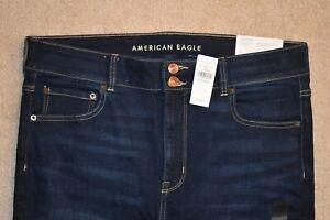 NWT AMERICAN EAGLE Women's HIGH RISE ARTIST SUPER STRETCH FLARE Jeans Dark Sz 16