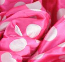 "Polka Dot PINK White SHINY SATIN 100% Polyester Pantie Lingerie Farbic 60"" BYD"