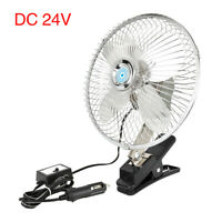 "8"" 24V Car Clip On Oscillating Fan 2 Speed Cigarette Lighter Plug Silver Tone"