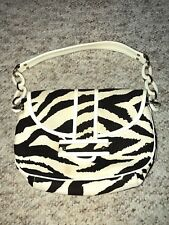 KATE SPADE BROWN IVORY ZEBRA STRIPE CHAIN LINK HANDBAG PURSE SHOULDER BAG RARE!
