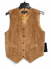 Poin Te - Woman's M - NWT - Rust Orange 100% Suede V-Neck Button-Down Vest Shell
