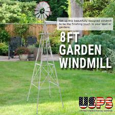 8ft Ornamental Decor Metal Garden Windmill Outdoor Spinner Lawn Weather Vane