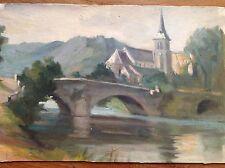 Aquarelle fine '800 primi '900 pont sul fleuve avec église e
