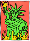 Framed canvas art print giclee Statue of Liberty, Keith Haring
