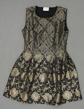 New Moon Ladies Abstract Floral Formal Pouf Dress Black / Bronze Medium