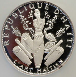 1970 HAITI Hatian Art VINTAGE OLD French Silver Proof 25 Gourdes NGC Coin i84651