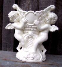 VINTAGE ANTIQUE WHITE CERAMIC CHERUB ANGEL PLANTER HOME & GARDEN POT VASE VESSEL