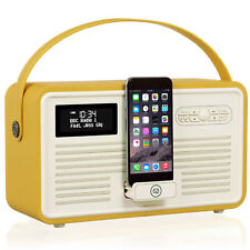 VQ Retro MKII DAB+ Digital FM Radio, Apple iPod Dock, Bluetooth - Mustard