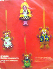 Bucilla Christmas GOLDILOCKS & FRIENDS Felt Applique Holiday Ornament Kit