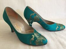 Vtg Hong Kong 1950s Chinese Silk Shoes Sz 6 Teal And Gold Heels Pointed Toe