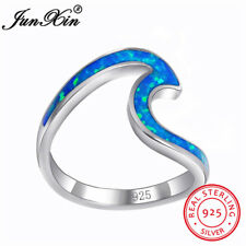 Wave Ocean Beach Blue Fire Opal 925 Sterling Silver Ring Wedding Gifts Size 6-10