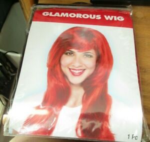 Amscan RED GLAMOROUS WIG for ADULTS or KIDS Birthday Halloween Party NIP