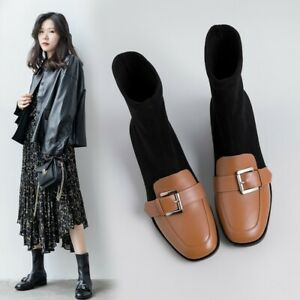 Womens Chic Leather Two Tone Buckle Strap Elastic Booties Ankle Boots Shoes 145
