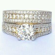 2 carat pc round Cut 14K yellow Gold hers engagememt Wedding Band Ring Set S 6.5