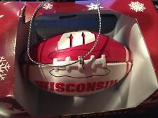 """University of Wisconsin Badgers 3"""" Football Christmas Ornament Red White"""