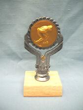 Female Speed Skater trophy pewter color finish gold metal insert wood base
