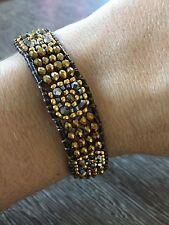Beaded leather narrow bracelet friendship adjustable gold sparkle NEW