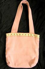 Handmade Quality Pink Cream Red floral Fabric reversible Shoulder Shopping Bag