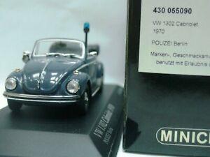 WOW EXTREMELY RARE VW Beetle Käfer 1302 Cabriolet 1970 Polizei 1:43 Minichamps