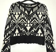 ESKIMO Ladies Jumper Black White Aztec Geometric Size 16 Knit Sweater Christmasy