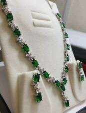 White gold finish green emerald and created diamond Necklace earring set