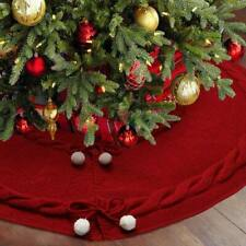 "48"" Double Layer Red Christmas Tree Skirt Thick Luxury Knit Tree Skirt Xmas Deco"
