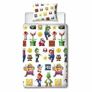 Nintendo Super Mario Lineup Single Bedding Set Children's Reversible Duvet Cover