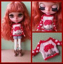 Mushroom sweater for Blythe, Azone Pure Neemo, Licca, bjd Dolls.