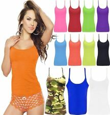 Womens Microfiber Neon Color Top Girls Sleeveless Strappy Casual Wear Lycra Vest