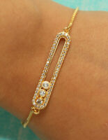 Messika Style Adjustable Bracelet with Diamonds 14k Yellow Gold Finish 1ct