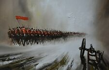 John Bampfield Original Oil Painting - The Cavalry Charge - Military / Army Art