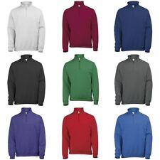 Cotton Blend Zip Neck Plain Sweatshirts for Men