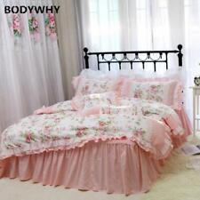 Romantic Embroidery Bedding Set Bedding Ruffle Lace Cotton Duvet Cover Set