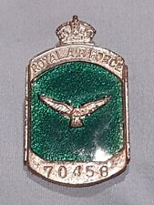 WWII British Royal Air Force Silver Security Lapel Badge VERY RARE S/N 70458 WW2